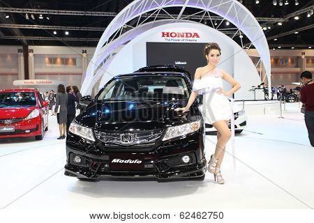 Bangkok - March 25 : Honda Civic Car And Modulo Kit With Unidentified Model On Display At The 35Th B