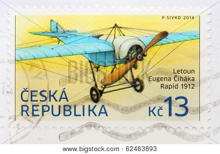 CZECH REPUBLIC - CIRCA 2014: A stamp printed in The Czech Republic shows image of a rare plane Rapid owned famous czech flyer Eugen Cihak from 1912, series, circa 2014