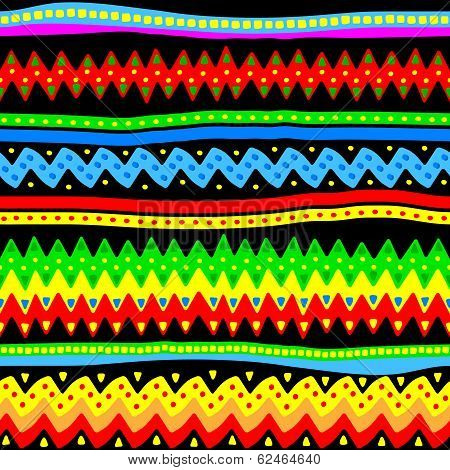 Colorful Seamless Vector Tribal Pattern