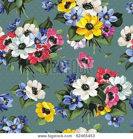 Elegance Seamless Floral Pattern With colored Flowers, vector illustration