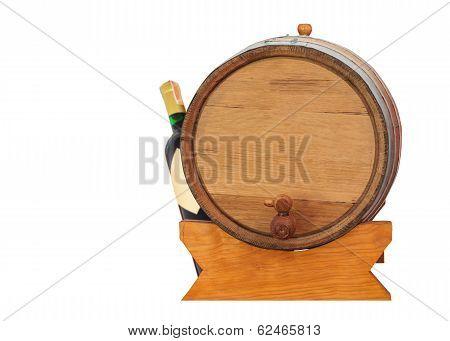 Wine Barrel And Bottle On White Background
