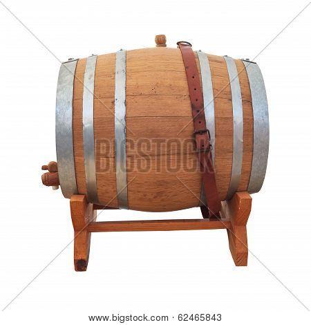 Wine Barrel On White