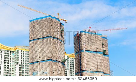 Building Under Construction Site And Blue Sky, Wrap For Safety