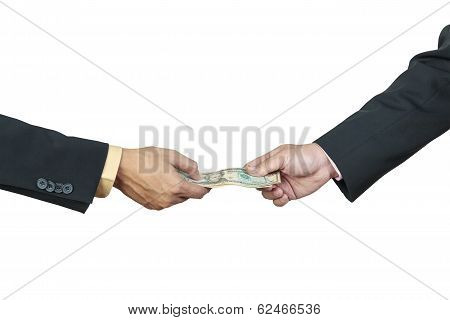 Businessman Hand And Money To Other For Corruption Concept On White Background