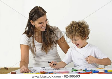 parent teaching child