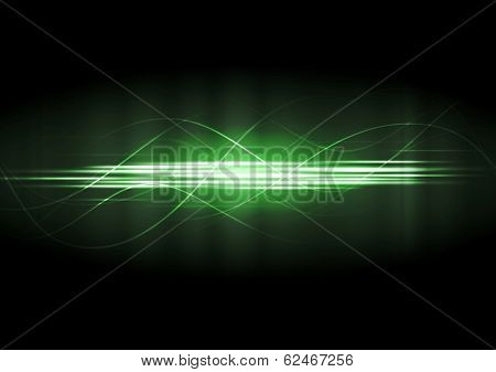 Abstract green neon lines vector background