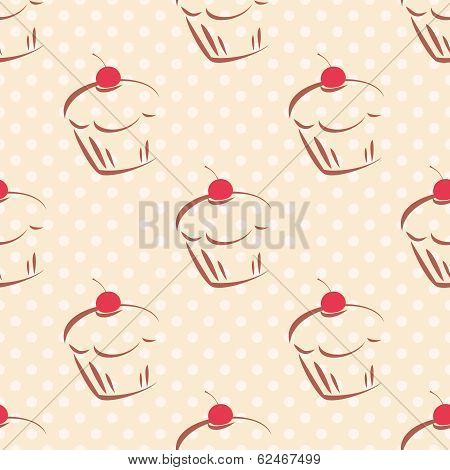 Seamless vector pattern or texture with red cherry cupcakes and white polka dots on pink background