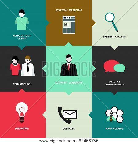 Infographics flat box diagram. Business needs concept. Simply minimalistic editable network scheme.