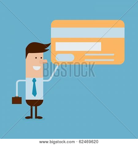 Businessman With Credit Card And Briefcase On Blue Background
