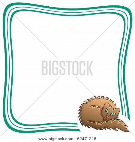 Frame With Brown Fluffy Cat Vector Illustration