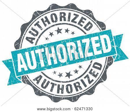 Authorized Blue Grunge Retro Style Isolated Seal