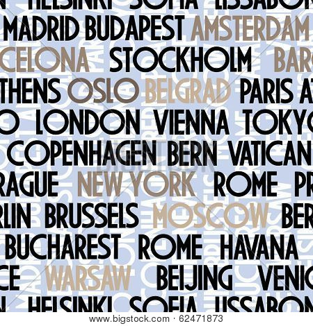 art seamless vector pattern background with names of cities in beige, black and brown