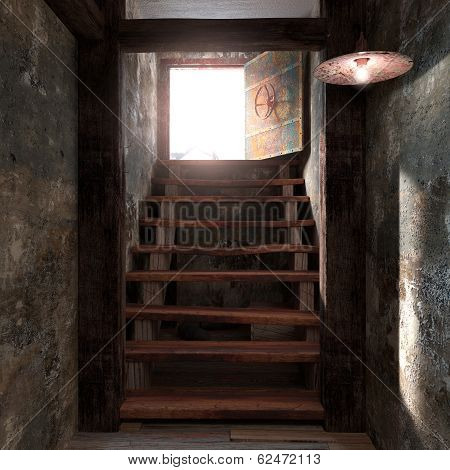 ancient concept room shelter interior exit stairs