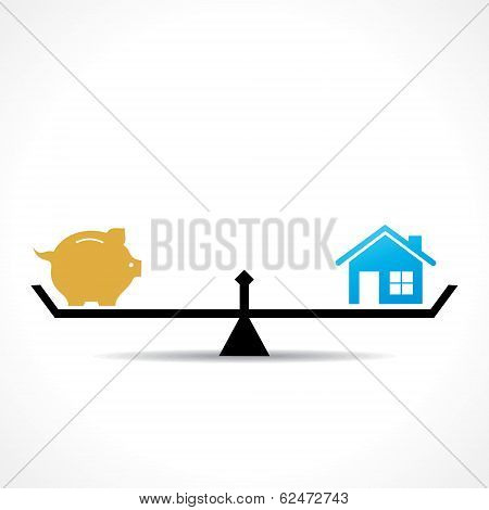 compare money and home concept
