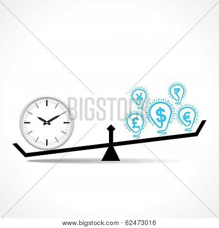 compare clock and dollar bulb , time is money conceptual