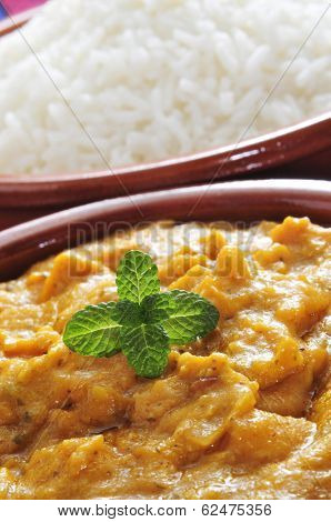 closeup of an earthenware bowl with korma curry and a bowl with basmati rice in the background