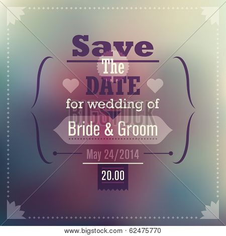 Invitation wedding card with abstract background. Vector illustration.