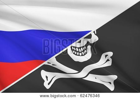 Series Of Ruffled Flags. Russian And Jolly Roger Pirate Flag.