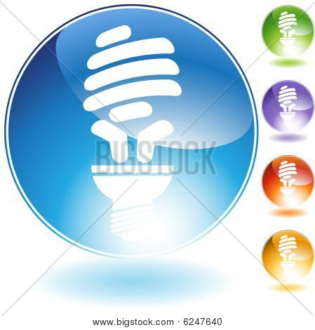 energy saving lightbulb crystal icon