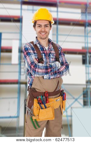 Confident Worker Wearing Toolbelt