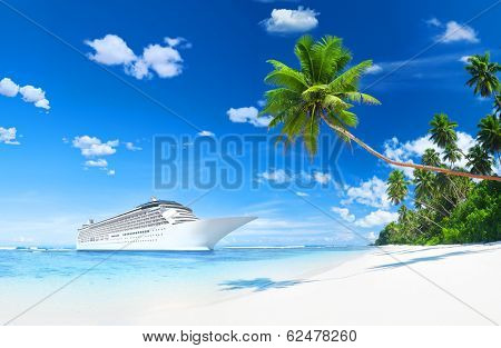 Lurxurious Cruise Ship By The Beach With Palm Coconut Trees