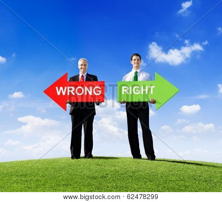 Two Businessmen Holding Arrows for Wrong and Right