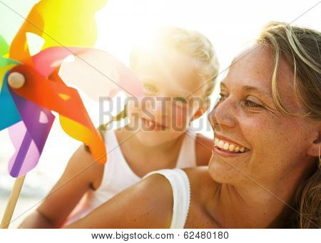 Mother and Daughter With Windmill
