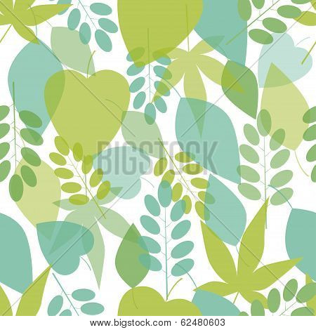 Seamless bright leaves pattern. Vector, EPS10