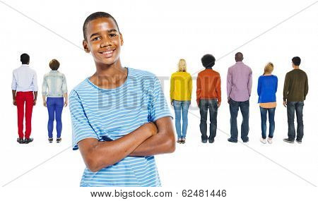Back View of Multi-Ethnic People and a Teenage Boy