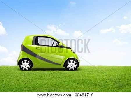 3D Image of a Green Car on an Open Field