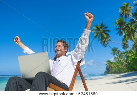 Businessman Working On Laptop at Beach