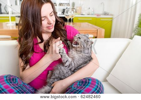 Angry Cat Bites With Claws Woman At Home