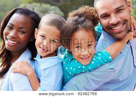 Portrait Of African American Family In Countryside