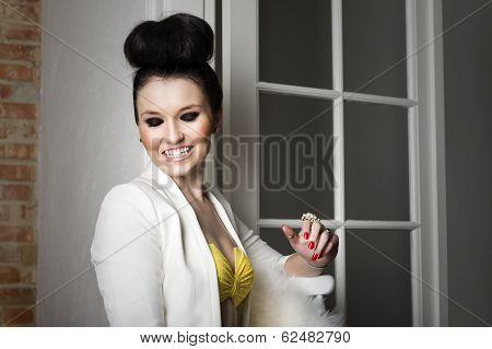 Beautiful Elegant Woman Flirting And Laughing