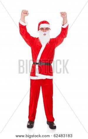 Portrait Of Santa Raising Hands On White Background