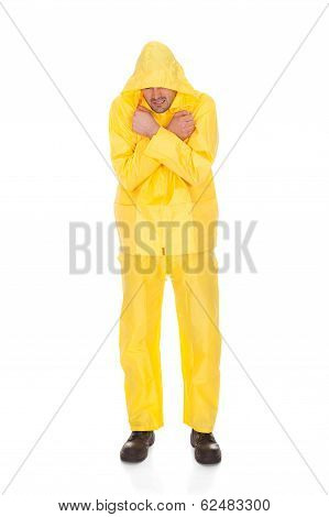 Man Wearing Raincoat