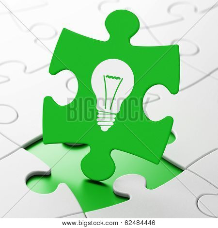 Finance concept: Light Bulb on puzzle background