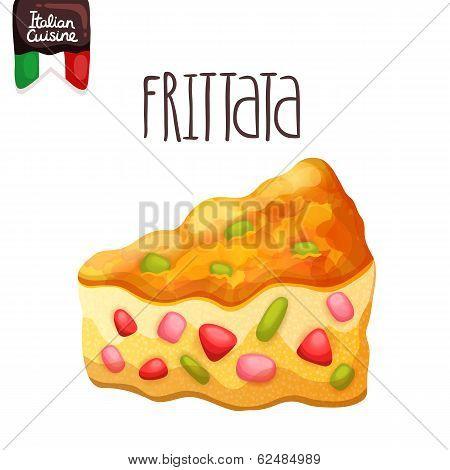 Frittata. Omelette with tomato, zucchini.