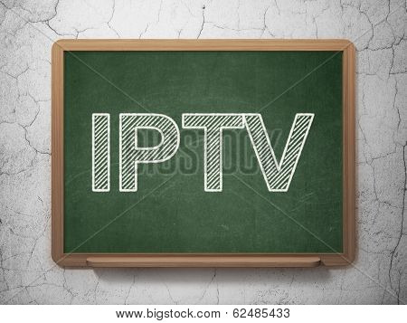 Web development concept: IPTV on chalkboard background