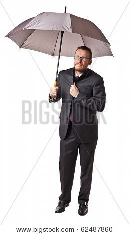 man with umbrella isolated on white background
