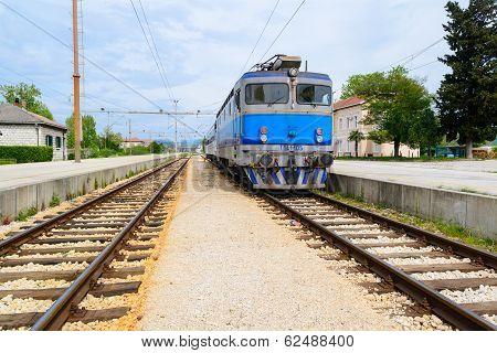 Electrical Train On Train Station In Eastern Europe, Croatia.