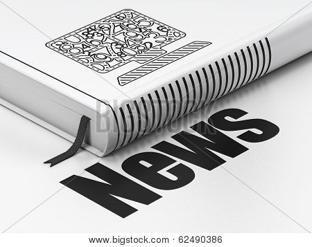 News concept: book Computer Pc, News on white background