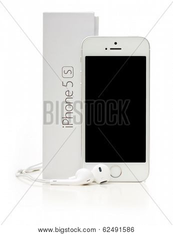 SAINT-PETERSBURG, RUSSIA - March 31, 2014: Photo of  iPhone 5  isolated on white background. iPhone 5S is a smart phone developed by Apple Inc.  the best in games and entertainment.