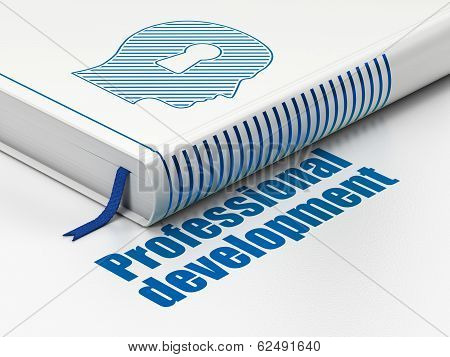 Education concept: book Head With Keyhole, Professional Development on white background