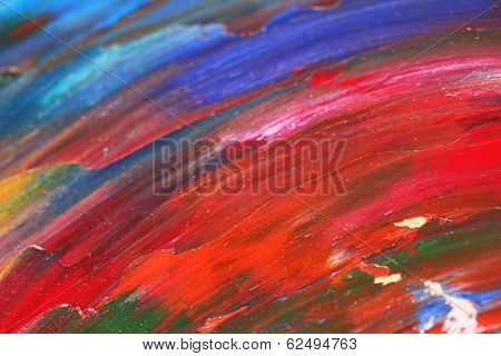 Oily paint brushstrokes close-up