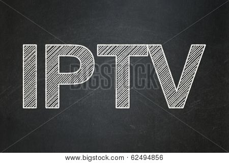Web design concept: IPTV on chalkboard background