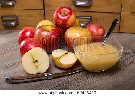 Apple sauce On A Wooden Table