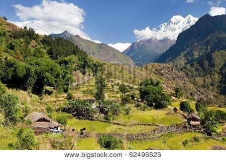 Beautiful Village In Western Nepal With Mount Dhaulagiri