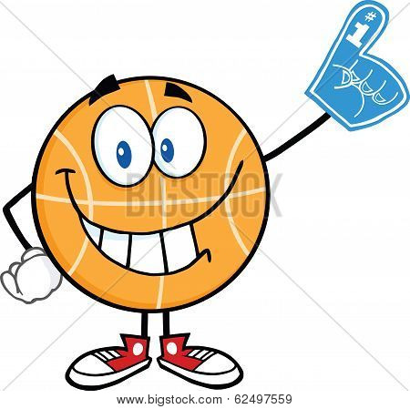 Smiling Basketball Cartoon Character With Foam Finger