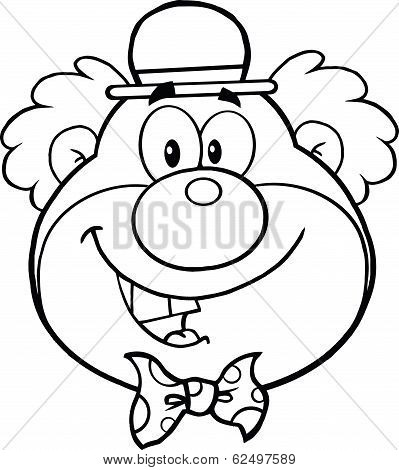 Black and White Funny Clown Head Cartoon Character
